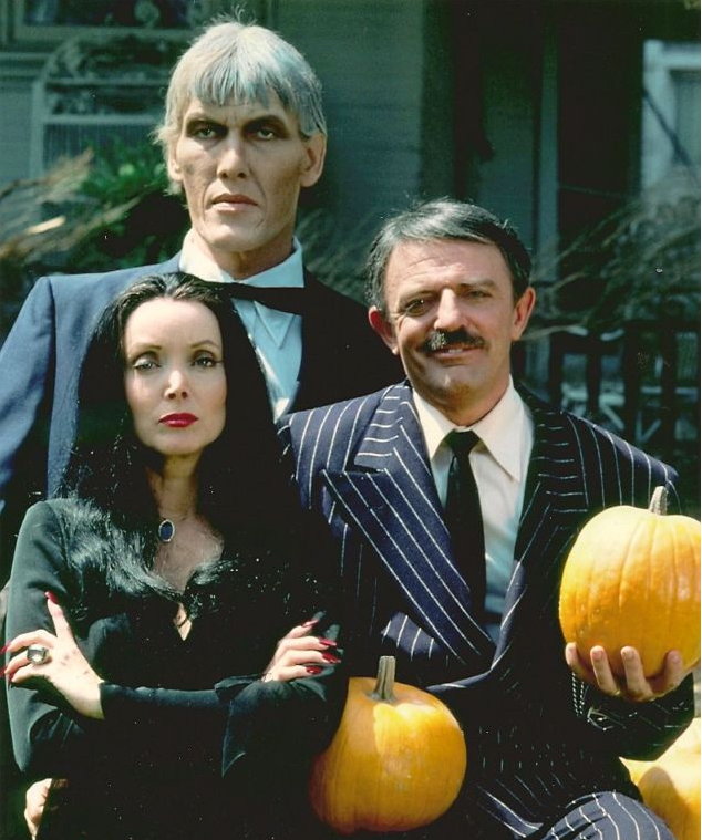 Addams family p with pumpkins