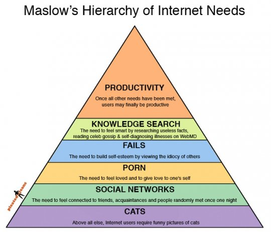 Maslows hierarchy of internet needs via 9agag