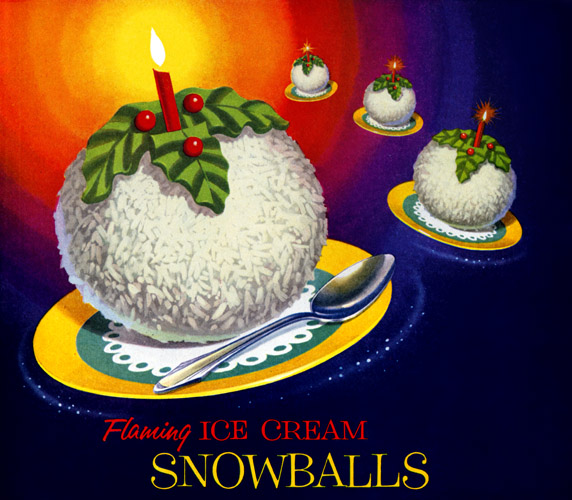 Winter - Flaming Ice Cream Snowballs by Foremost Dairy Foods 1955 via plan59