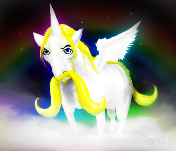 Moustache unicorn via zero-lives - magical
