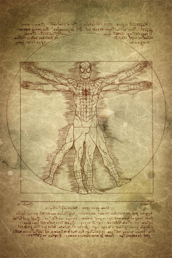 Davinci Vitruvian Spider-Man p by Joe Quesada via comicbooks