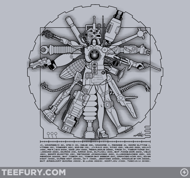 Davinci vitruvian machine via teefury