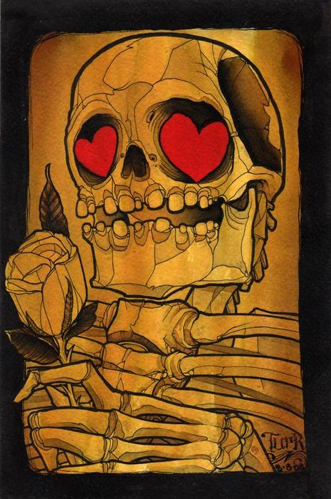 Valentine skelly with heart eyes and rose via the living dead
