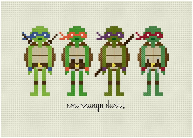 TMNT cross-stitch via weelittlestitches etsy