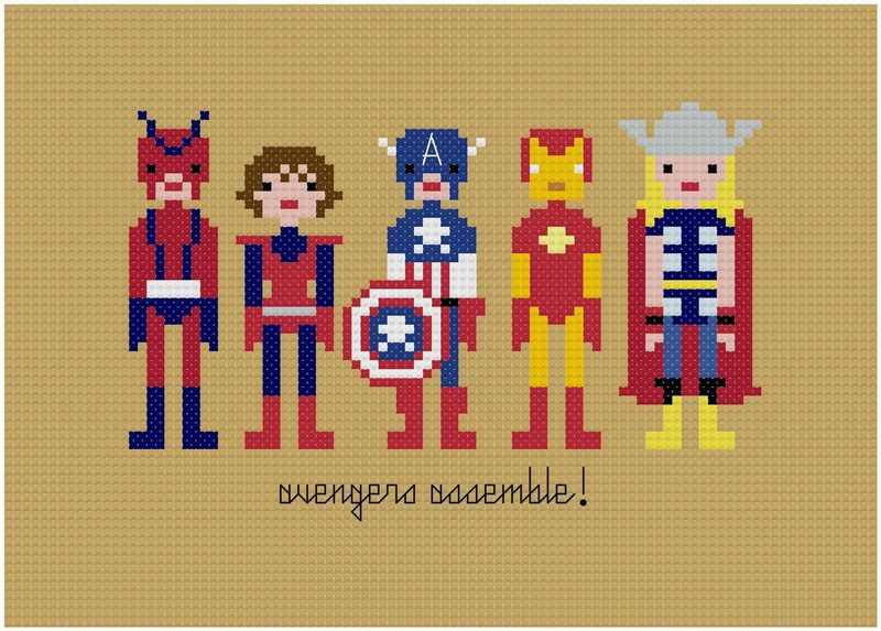 Avengers cross-stitch via weelittlestitches etsy