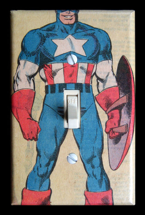 Captain america light switch plate via etsy