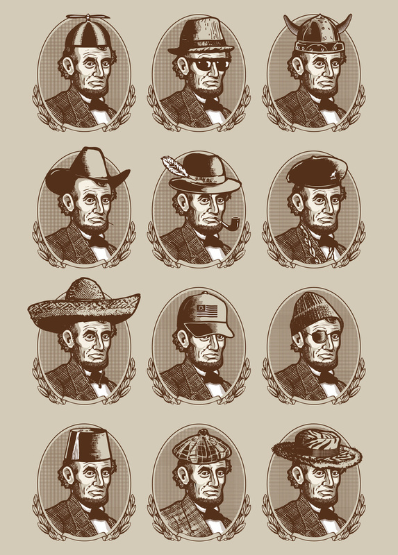 Abe tries on hats by ian byers via society6