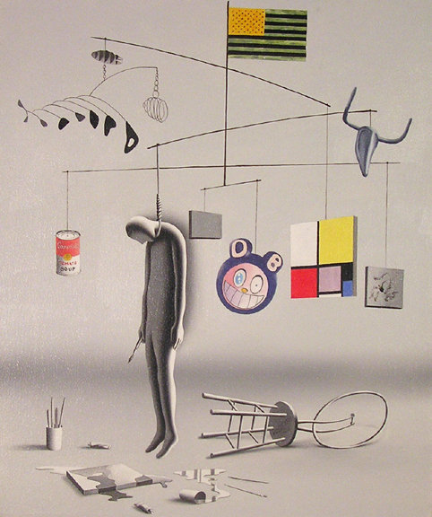 Art - Mark Kostabi - Suicide By Modernism  2005